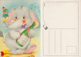 Illustration, éléphant Avec Bouteille De Champagne. European Greetings Série 531202 - Éléphants