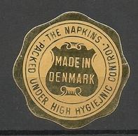 DENMARK The Napkins Made In Denmark Siegelmarke Seal Advertising Stamp * - Danimarca