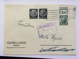 GERMANY 1935 Cover Hannover With Zuruck Cachet `George Lange Dentist` - Lettres & Documents