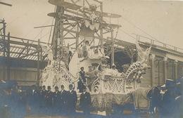 Carte Photo Mi Careme Moulins 6/3/1910 Char De La Reine Avion Bibendum Michelin - Manifestations