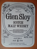 Ancienne étiquette  SCOTCH WHISKY  GLEN SLOY  Importateur Jacal  Chambery - Whisky