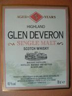 Ancienne étiquette  SCOTCH WHISKY  GLEN DEVERON - Whisky