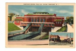 PAWTUCKET, Rhode Island, USA, Pawtucket-Central Falls Railroad Station / Depot,  Old Linen Berger Bros  Postcard - Pawtucket