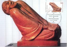 6280  Ernst Barlach, Sculpteur Expressionniste: Carte Maximum 1er Jour D'Allemagne, 1999 - German Expressionist Sculptor - Sculpture