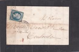 TARASCON-sur-ARIEGE  (ARIEGE) PC 3318  -  LAC + NAPOLEON N° 14A   Pour TOULOUSE  -  11 AOUT 1858 - REF 13712 - 1849-1876: Période Classique