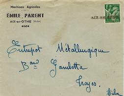 1940- Oblitération De Fortune De AIX En OTHE  ( Aube ) Sur N°432 ( Iris 1 F Vert )  SEUL - Marcophilie (Lettres)