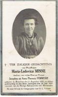 BREDENE - Maria Ludovica MINNE (dochter J. En A. VERMEIRE) Geboren 1880 En Overleden 1931 - Andachtsbilder