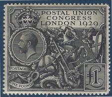 Grande Bretagne Georges V N°183* 1 Livre Noire Superbe Et RR Signé Calves - 1902-1951 (Könige)