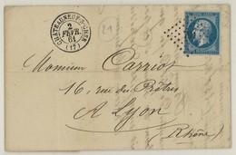 France Yv. 14 Sur SUP Lettre LAC, PC 791 Chateauneuf Sur Cher, Dep. 17 Cher, Pothion Ind. 4 EUR 17 (337) - 1849-1876: Classic Period