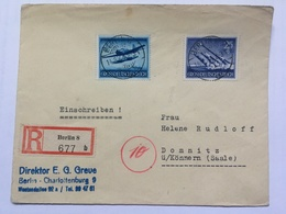 GERMANY 1944 Cover First Day Armed Forces Tied With 20 & 25 Pf Registered Berlin To Domnitz - Germania