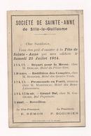 CARTON D'INVITATION - SILLE LE GUILLAUME - SOCIETE DE SAINT ANNE -  Fête De Ste Anne Juillet 1914 - - Cartes