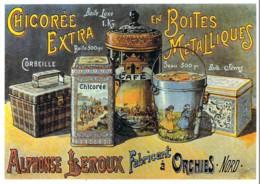 Repro Affiche Les Boites Métalliques De La Chicorée Extra LEROUX à Orchies CPM Clouet 10780 - Advertising