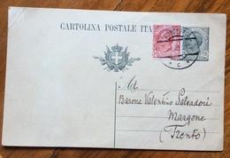 RONCEGNO 6 VIII 21 Annullo Austriaco Su CARTOLINA POSTALE LEONI 15 C. (19) Per MARGONE TRENTO - Trento