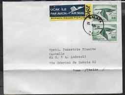 TURCHIA - STORIA POSTALE - BUSTA VIA AEREA DA GALATA 21.09.1964 PER ITALIA - 1921-... République