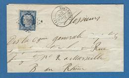 BOUCHES DU RHONE MALLEMORT N°60 Obl GC 6016 En 1875 - Marcophilie (Lettres)