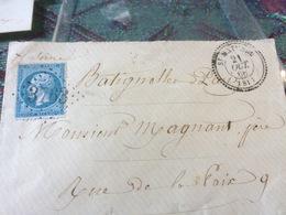 TIMBRE SUR LETTRE NIII 20C BLEU N°22 ;CAD TYP 22 ST MATHIEU 21 OCT 66 (81)  LOS GR CH 3763 CAD LES BATIGNOLLES - 1862 Napoleon III