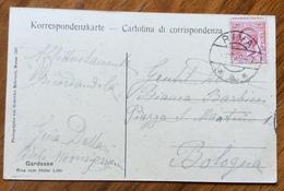 RIVA * A * Y7 XI 19  Annullo Austriaco Su CARTOLINA RIVA Vom HOTEL LIDO - Foto G. Bahreadt  (MERANO 1907) Per BOLOGNA - Trento