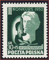 1952 Poland Mi 785 H . Wieniawski Virtuoso Violin Competition MNH** - Ongebruikt