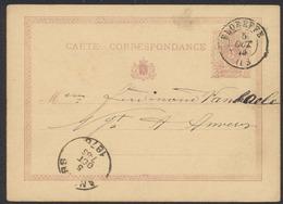 """EP Au Type 5ctm Mauve """"carte-correspondance"""" Obl Double Cercle """"Floreffe"""" (1875) Vers Anvers. - Enteros Postales"""