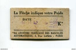 WW2 Ticket Billet De Balance De Quai De  Métro - RATP - Chemins De Fer Métropolitain - 1942 - WWII - Titres De Transport