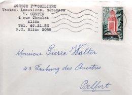 ALGERIE   / LETTRE A DESTINATION DE LA FRANCE TIMBRE ALGERIEN TLEMCEN SEUL SUR LETTRE 1963 - Algérie (1962-...)