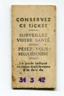Ticket Billet De Balance De Quai De  Métro - RATP - Chemins De Fer Métropolitain - 1942 - WW2 WWII - Titres De Transport