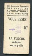 Ticket De Balance De Quai Du Métro Parisien 1951 - RATP - Chemins De Fer Métropolitain - Titres De Transport