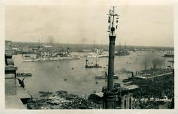 Chine China Shanghai War Ship  Port Militaire Magnifique Photo-carte Postale Et Timbres 1935 - Chine
