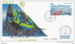 L4H007 TAAF 1983 FDC Alfred Faure Crozet  01 01 1983 Ile Des Apôtres 0,65 - FDC