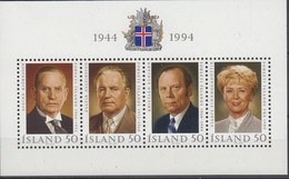 +Iceland 1994. Republic 50 Years. Bloc. Michel 16. MNH(**) - Blocs-feuillets