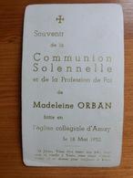 Communion Solennelle Madeleine Orban Amay 1952 - Andachtsbilder