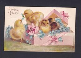Carte Gaufree Embossed Heureuses Paques Poussins Boite Cadeau Fleurs Myosotis Ref. 41058 - Easter