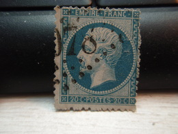 Timbre Napoléon III 20 C - EMPIRE FRANC  N° 22 Oblitéré.  078 ? - 1862 Napoleon III