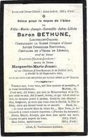 Baron BETHUNE - Adel - Commandant Garde Civique D'Alost ° Château D'Overhamme 1867 + 1901 - Images Religieuses