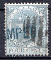 CEYLAN - (Colonie Britannique) - 1872-80 - N° 49 - 4 C. Bleu-gris - (Victoria) - Ceylon (...-1947)