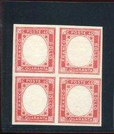 1861 Quartina C.40 Emissione Province - Scarto Di Stamperia Senza Effige Cert. Studio Peritale Romano - Naples