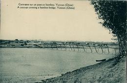 Chine China Yunnan Caravane Sur Pont De Bambou Carte Postale Missions étrangères De Paris - Chine