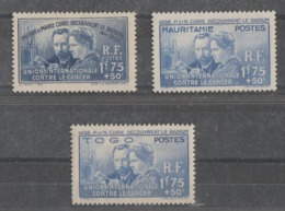 FRANCIA+MAURITANIA+TOG   1938  *  MN   YVERT  402+167+171 - 1938 Pierre Et Marie Curie