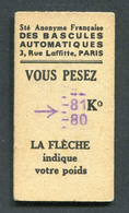Ticket De Balance De Quai Du Métro Parisien 1949 - RATP - Chemins De Fer Métropolitain - Titres De Transport