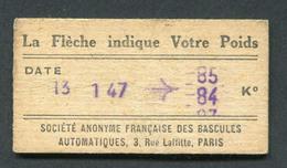 Ticket De Balance De Quai Du Métro Parisien 1947 - RATP - Chemins De Fer Métropolitain - Titres De Transport
