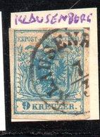 """Österreich,1850, Freimarke 9 Kr., MiNr.5,  Stempel""""Klausenburg"""" Siebenbürgen (17931E) - Used Stamps"""