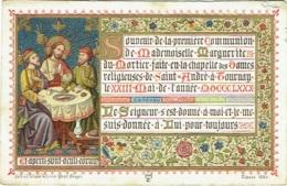 Image Religieuse. Communion. M.du Mortier, Tournai 1880. Holy Card. Lith. Vande Vyvere,Bruges. - Images Religieuses