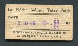 Ticket De Balance De Quai Du Métro Parisien 1946 - RATP - Chemins De Fer Métropolitain - Titres De Transport