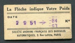 Ticket De Balance De Quai Du Métro Parisien 1951 - RATP - Chemins De Fer Métropolitain De Paris - Titres De Transport