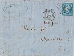 ALGERIE - PHILIPPEVILLE - 6 JUILLET 1859 - EMPIRE N°14 - OBLITERATION PC - LETTRE POUR MARSEILLE. - 1849-1876: Klassieke Periode