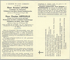 Doodsprentje: LATON Arseen °Wervik En ARFEUILLE Gaston ° Ieper, + Vlierzele, 8 Aug 1944. Vliegeraanval - Religión & Esoterismo