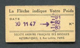 Ticket De Balance De Quai Du Métro Parisien 1947 - RATP - Chemins De Fer Métropolitain De Paris - Titres De Transport