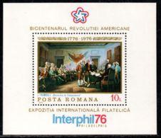 Romania 1976 Mi# Block 130 ** MNH - American Bicentennial / Paintings - Us Independence