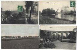95 - MÉRY - Lot De 4 CPA - Route De Pontoise, Vue Générale, Les Remorqueurs, Le Viaduc Du Chemin De Fer - Mery Sur Oise