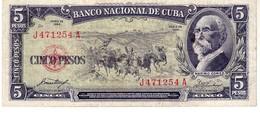 Cuba P.91 5 Pesos 1958 Xf - Cuba